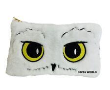 Harry Potter Hedwig Pencil Case White Owl Soft Plush Zip-Up Pouch Bag Official