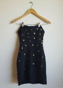 Camilla And Marc Ivory Coast Frock Dress Black with Leopard Print Size AU 10