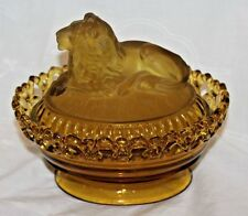 Vintage Imperial Amber Glass Lion Dish with Lid / Beautiful Condition