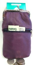 Women 100% Leather Cigarette Case Lighter Match Pocket Zipper Coin Pouch- Purple