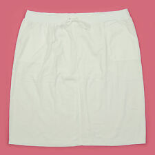NEW PLAIN WHITE STRETCHY WAISTBAND & POCKET FRONT SUMMER SKIRT, PLUS SIZE 30