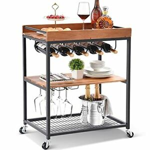 Wine Bar Cart, Solid Acacia Wood Home Bar Serving Carts on Wheels with Wine