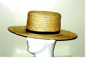 "STRAW HAT - Handmade in the USA by Amish - Civil War, Civilian, Wide 4"" Brim"