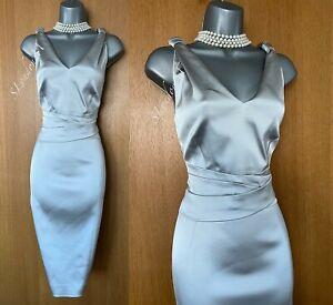 Karen Millen UK 14 Silver Satin Bow Detail V Neck Wiggle Cocktail Dress