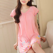 Women Girls Summer Cartoon  Cotton Sleeping Dress PJS Pyjamas Nightwear Pajamas