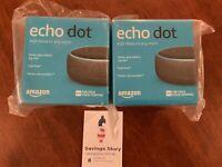 2-pack Amazon Echo Dot 3rd generation Smart Speaker W/ Alexa : Charcoal New