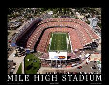 Denver Broncos c.1997 MILE HIGH STADIUM NFL Football Gameday Aerial Poster Print