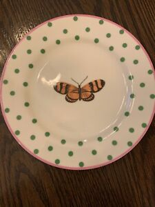 """Anthropologie POLKA DOTS & BUTTERFLY 8.5"""" Replace Salad Plate Pink Green MINT"""