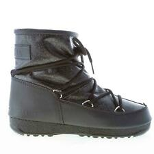 MOON BOOT scarpe donna Tronchetto glitter nero stringhe fodera eco-pelliccia