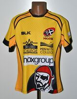 CORNISH PIRATES RUGBY UNION SHIRT JERSEY BLK SIZE M ADULT