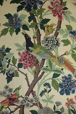 "GP & J BAKER CURTAIN FABRIC DESIGN ""Hydrangea Bird"" 6 METRES  BEIGE 100% LINEN"