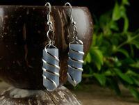 ANGELITE Crystal Point Earrings - Angelite Earrings, Wire Wrapped Earrings E1392