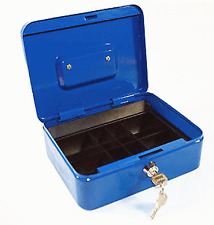 Cash Money Box With 2 Keys Blue Petty Safe Lockable Tin