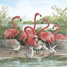 Pink Flamingo Birds Image #1 Coasters Set Of 4 Fabric Top / Rubber Backed