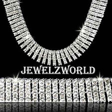 BRAND NEW!! 4 ROW ICED OUT SILVER CZ HIP HOP BLING CHAIN NECKLACE
