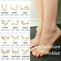 Women 12 Constellation Ankle Chain+Bracelet+Necklace Crystal Alloy Jewelry
