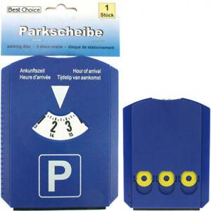 Blaue 4 in 1 Auto Parkscheibe mit Eiskratzer, Gummilippe & Einkaufswagen Chip