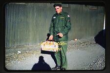 1950's Young Army Man w Memory of Japan Bag, Original Kodachrome Slide b6a