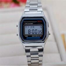 LED WATCH STYLE New CHROME RETRO STAINLESS STEEL BAND DIGITAL GIFT MK