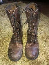 Real Leather Tan Lace Up Boots Size 5 (Newly Re-Heeled)