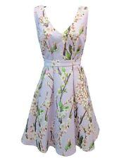 Gianni Bini Blossom Lavendar Floral Deep V Fit & Flare Social Dress Size Medium
