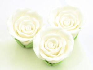 3 Zuckerrosen Aufleger Tortendeko Kuchen Valentinstag Blumen Hochzeit Weiß White