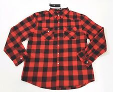 Allegra K Men's Plaid Red Black Cotton Flannel Shirt Size 44