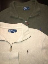 Lot of 2 Polo Ralph Lauren Mens Vintage 1/4 Zip Pullover Ribbed Sweater XL EUC