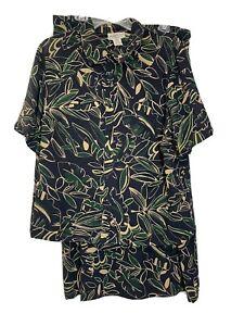 Pendleton PLUS 16W 18W Floral Blue Skirt Blouse Set Modest Vintage Top Shirt