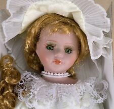 """Collector's 12"""" Porcelain Doll Strawberry Blond w/Green Eyes & Eyelashes + Stand"""