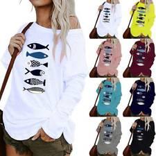 Women Casual One Shoulder Print BlouseLadies  Irregular Long Sleeve Baggy Tops