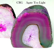 Pink Agate Geode Tea Light Candle Holder (Can5-pink)