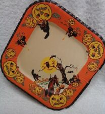 Halloween Crone In A Field Pumpkins Orange Edge Paper Plate
