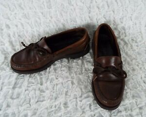 LL Bean Brown Leather Slip On Penny Loafers  Boys Size 5 M