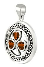 New 0.925 Sterling Silver Irish Shamrock 3 Leaf Clover Genuine Garnet Pendant