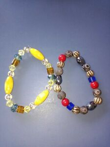 """Two Handmade Bracelets with real glass or crystals. 6 3/4"""" They are so beautiful"""