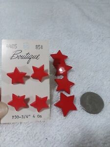 Vintage 1980s Red star plastic buttons on original card bedazzle new
