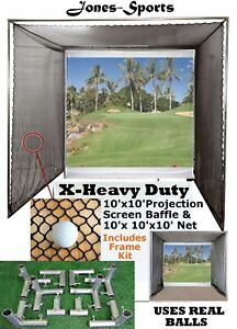 Golf Impact Projection Screen 10' x10' Baffle w/ 10'x10'x10' Net & Frame Corners