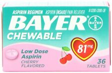 Bayer Chewable Low Dose Child Aspirin 81mg Tablets Cherry 36 Tablets Each