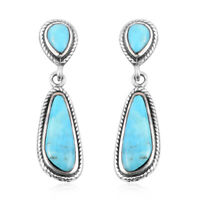 925 Sterling Silver Turquoise Dangle Drop Earrings Southwest Jewelry Gift Ct 7
