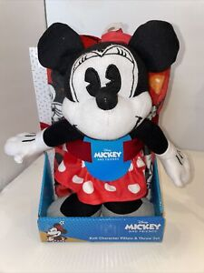 D32 Mickey And Friends Minnie Mouse Throw and Knit Pillow Set Hugger Christmas