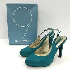 Nine West Women's Size US 6W UK 4.5 Shoes Heels Teal Satin Heel 11 cm 351163