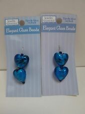 Blue Glass Heart Beads (Jewelry Making) - 2 Packages