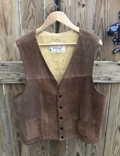 Vintage Jo-O-Kay Brown Suede Sherpa Lined Leather Vest Men's 46 Joo Kay L
