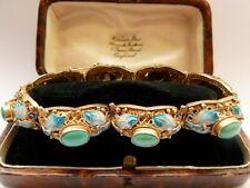Antigua Pulsera Década de 1930 Art Deco Mariposa Oro chino de exportación Vermeil Esmalte