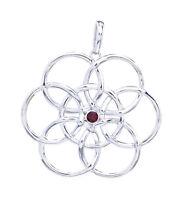 Blume Des Lebens Granat Anhänger Silber Gothic Schmuck - NEU