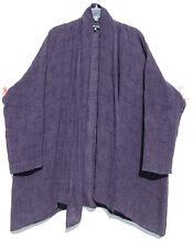 "NEW Eskandar  PURPLE Textured Linen Viscose 33"" Long  Shawl Clr Jacket (0) $1195"