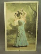 Antique Early 1900's Pin Up Girl Rose Beryle Colorized Dress Postcard