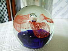 Clear Glass Paperweight with Cobalt Blue Base & Red lace Flower Design