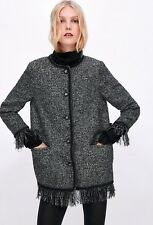 8352a18b Zara Tweed Jacket With Metallic Thread Gray Black Fringe Blazer Sz S